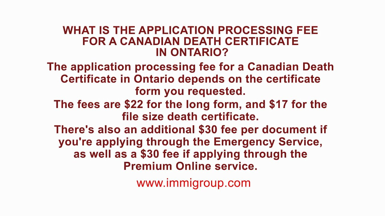 What is the application processing fee for a canadian death what is the application processing fee for a canadian death certificate in ontario aiddatafo Image collections