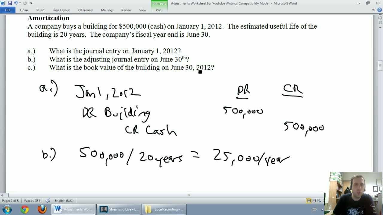 accounting unit 3 part 2 amortization depreciation youtube