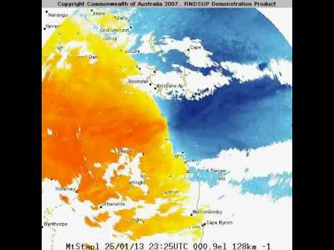 Doppler Wind QLD Big Wet Animated BOM Radar Images 128 Km Doppler Wind Radar Mt Stapylton