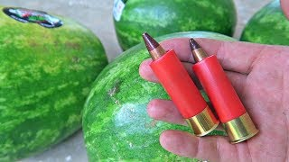 Watermelon Vs 12 Gauge 50 BMG - Exotic Ammo