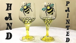 HoneyBee on Wine Glass | DIY - Glass Painting | Wedding Decoration Ideas