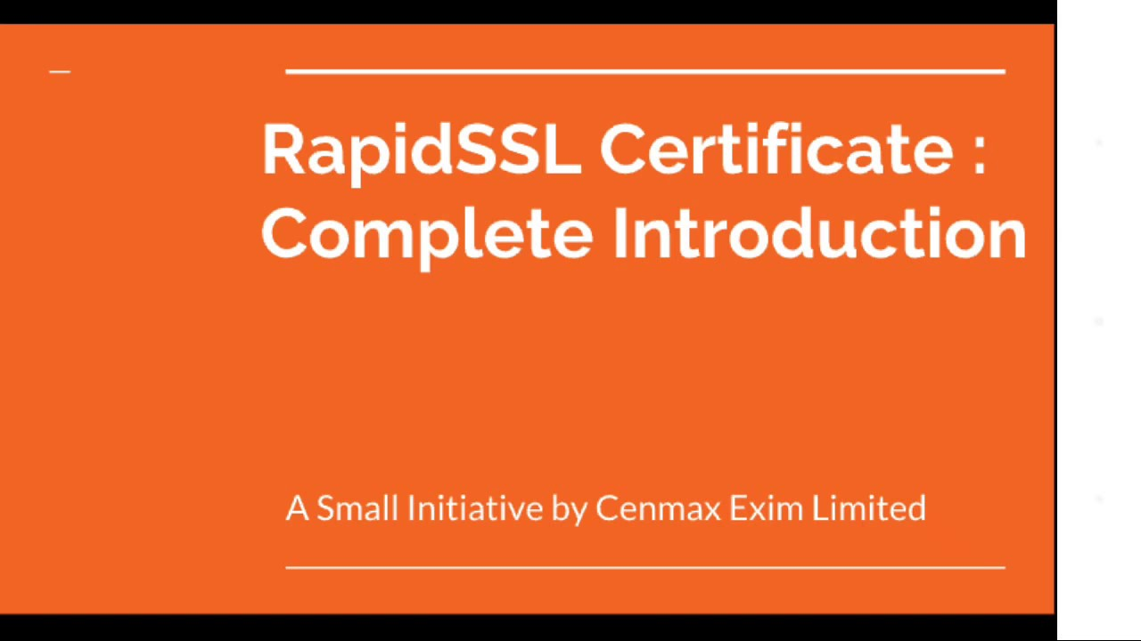 Rapidssl Certificate Complete Introduction For Beginners Youtube