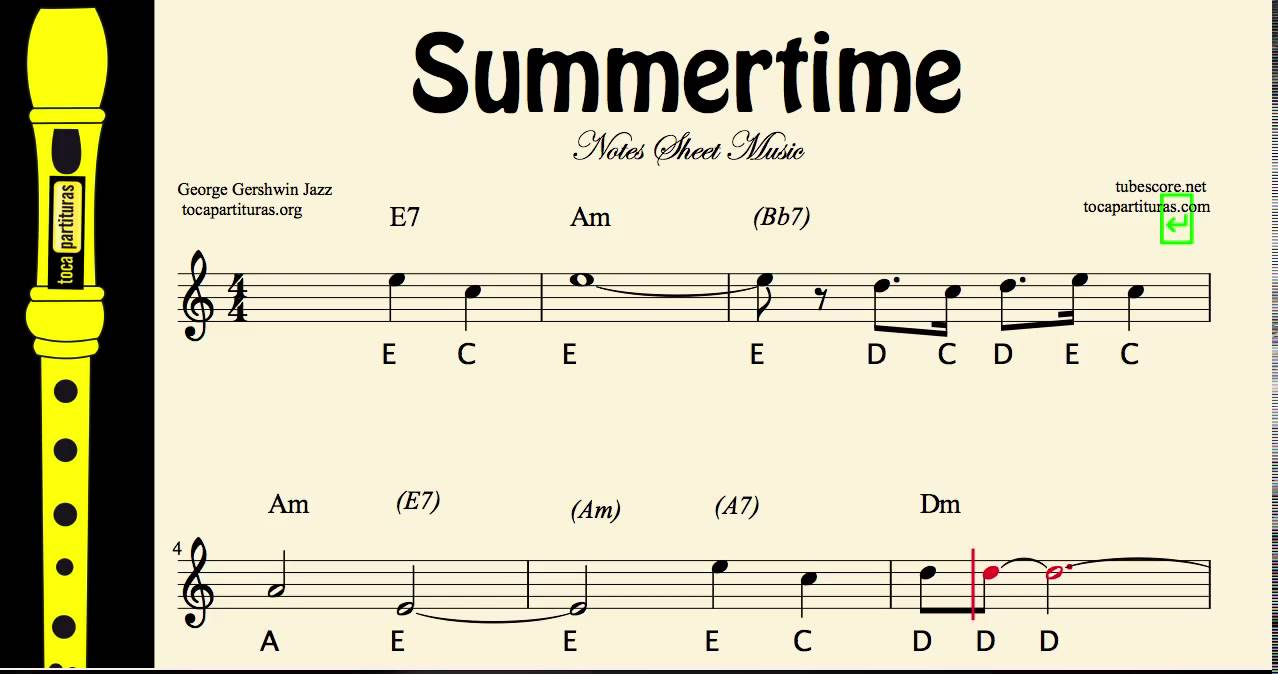 summertime easy sheet music notes for recorder