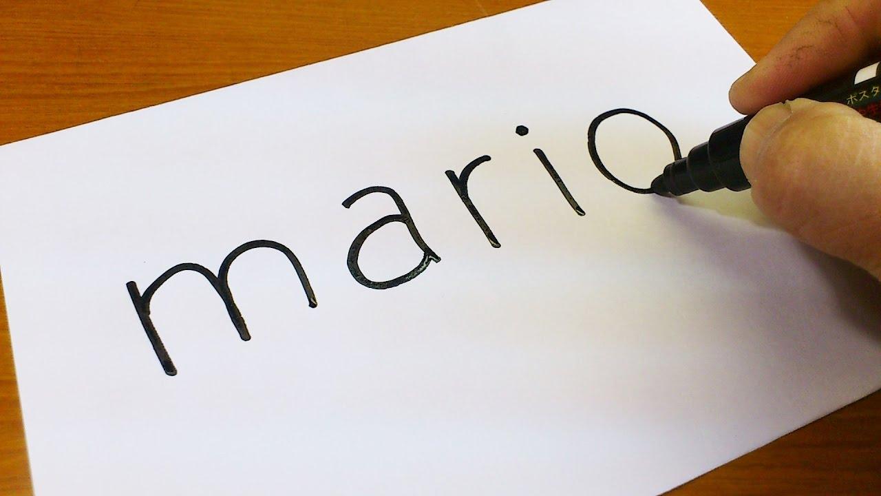 how to turn words mario into a cartoon