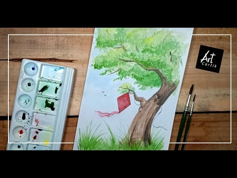 How to paint Simple Landscape Painting with Water Colours | Drawing Tutorial
