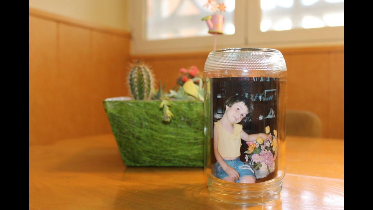 Como hacer un portafotos con un bote de cristal for Bolas de cristal decorativas
