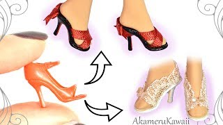How to: Easy Barbie / Doll Shoes - Summer Mini Shoes Tutorial