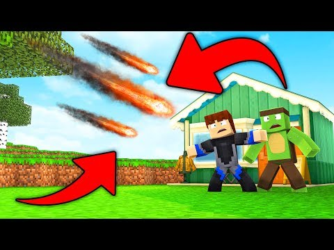 METEOR VERSUS BASE DEFENCE -Minecraft W/ Tiny Turtle And Scuba Steve