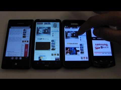 Omnia 7, Desire HD, Galaxy S Wave S8500 browser and internet comparison