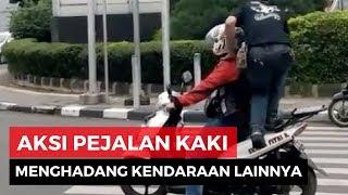Viral, Video Pejalan Kaki Menginjak Kendaraan Yang Melanggar