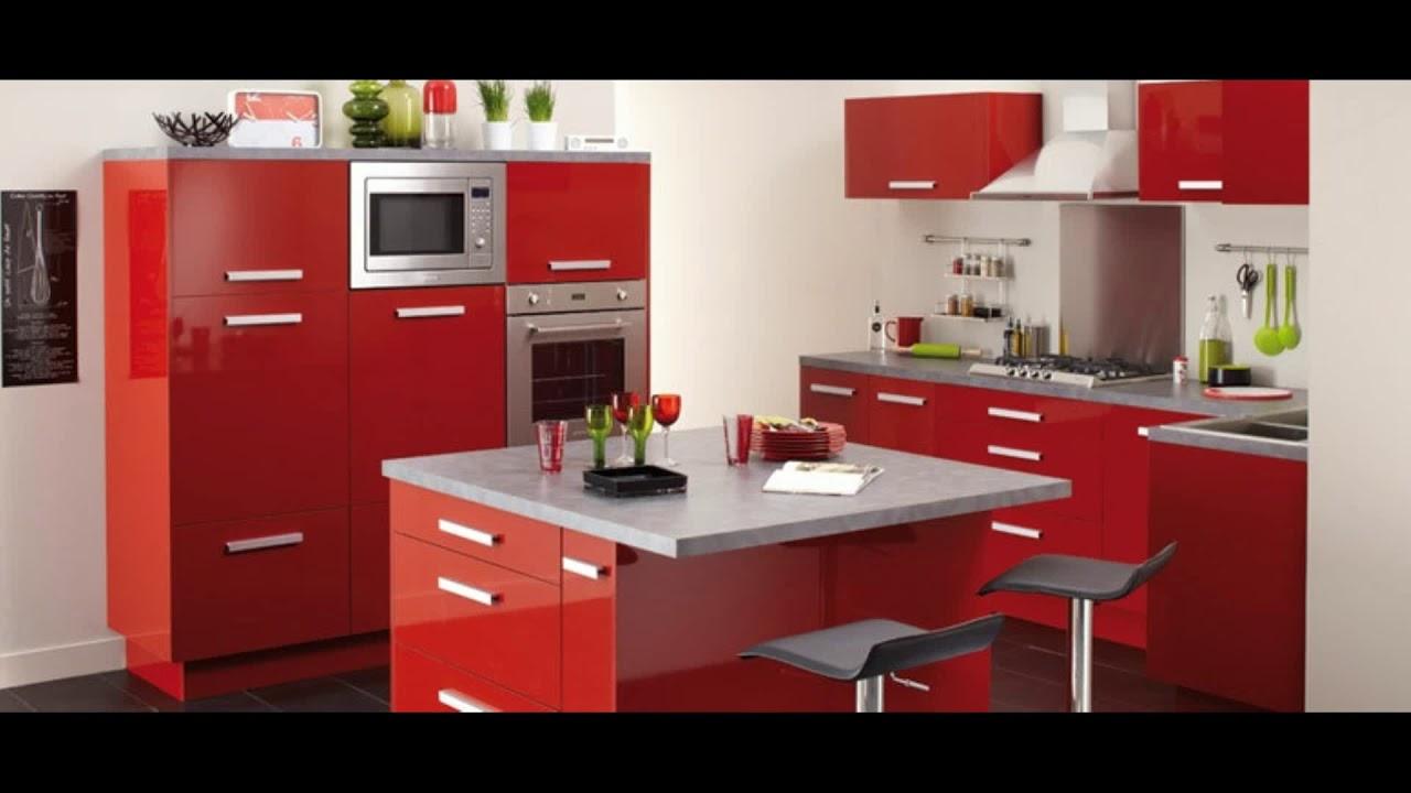 meuble cuisine rouge et gris