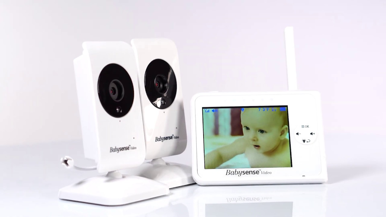 Babysense Video Baby Monitor 3.5 Inch Screen with 2 Cameras White