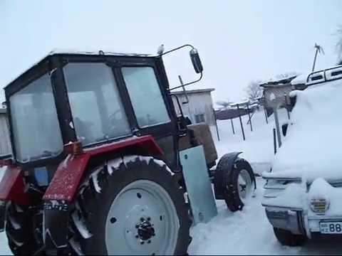 Чистка снега на тракторе мтз 80