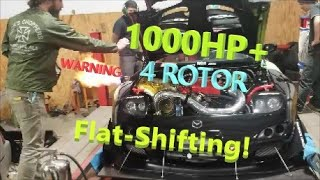 FLATSHIFTING! 1000+RWHP 4 Rotor on Dyno; World's 1st Air Shifted 4 Rotor Sequential VERY LOUD BEWARE
