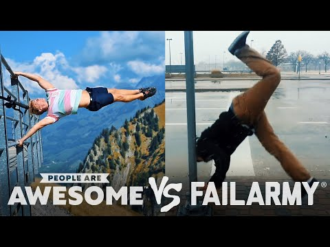 Ski Jumps, Footballing, Partner Handstands & More | People Are Awesome VS. FailArmy!