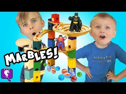 SuperHero Marble TOWER! Plop Spin + Drop Wooden TOY Build HobbyKidsTV