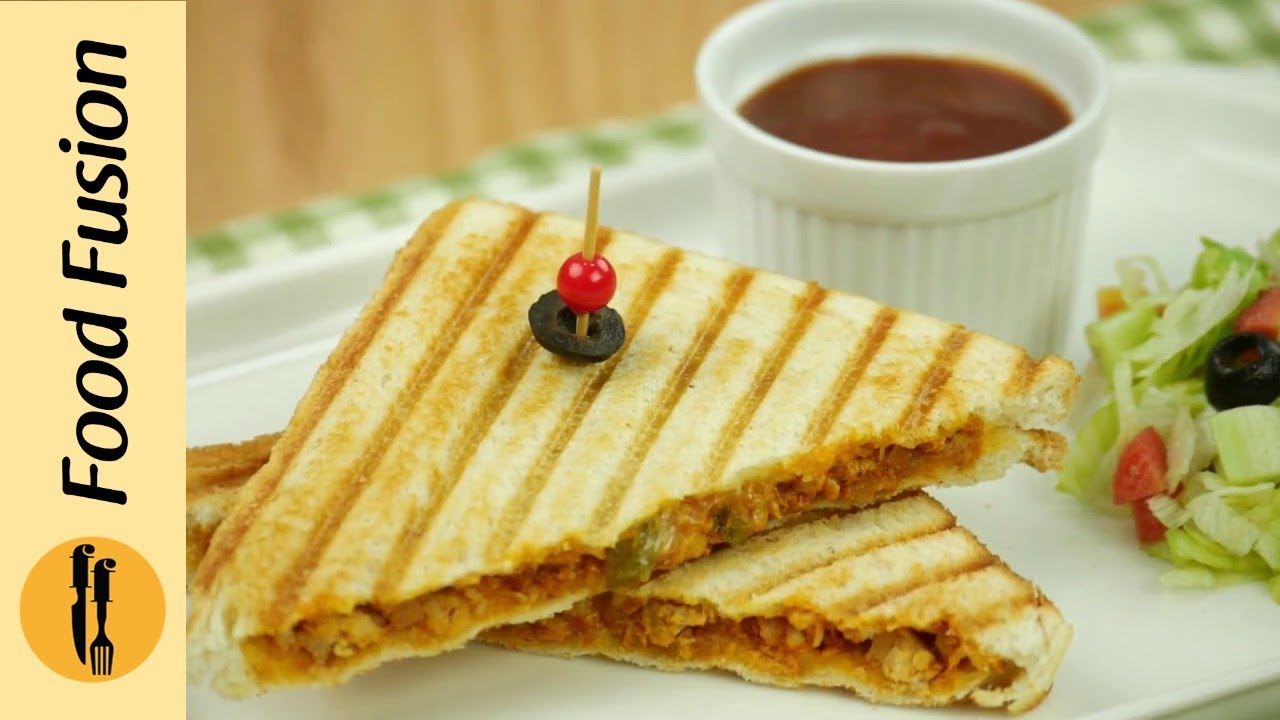 Grilled Sandwich With Chicken Cheese Recipe By Food Fusion Youtube
