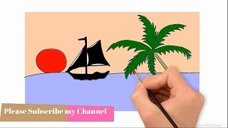 How to draw sunset scenery step by step draw to colourning pencil drawing of natural for kids