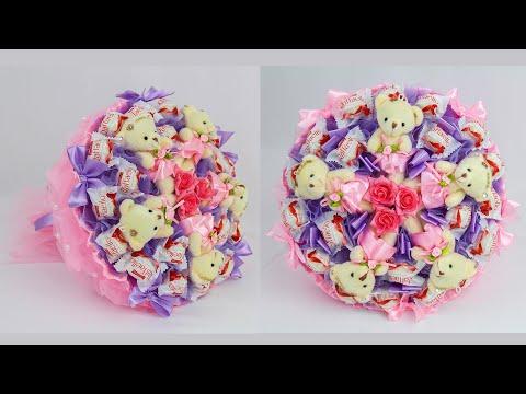 Как сделать букет из игрушек и конфет своими руками пошаговое фото