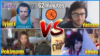 Twitch Rivals : Yassuo vs Tyler1 | Insane 62 Minutes Match (ft Pokimane, Emiru,..)