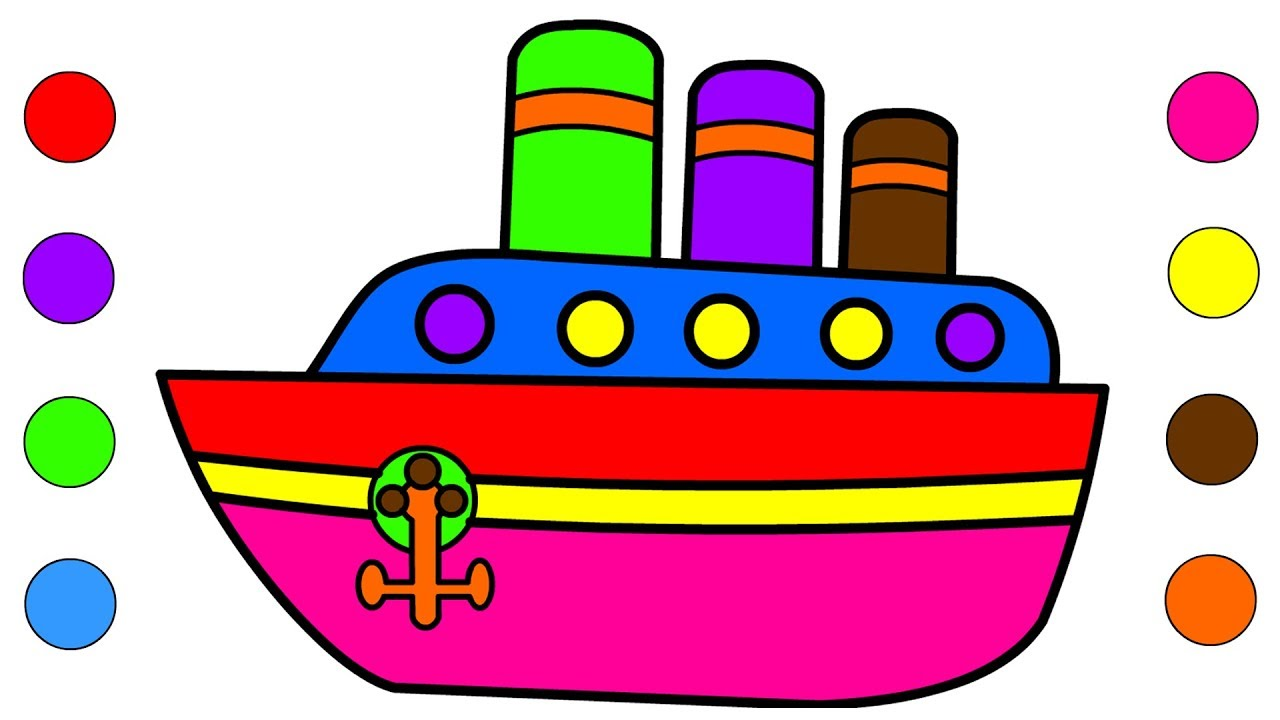 Boat Coloring Pages For Kids Children Toddlers - Learn Colours With ...