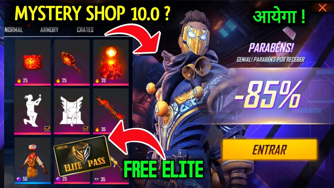 MYSTERY SHOP 10.0 FREE FIRE|FREE ELITE PASS 3RD ANNIVERSARY, EMOTE,THRONE EMOTE-UNIQUE GAMEPLAY