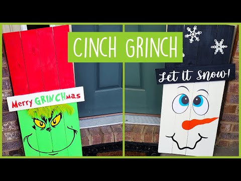 Christmas Front Porch Entryway Decor Ideas - DIY Snowman and Grinch Porch Signs