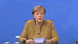 Liveübertragung: pressekonferenz mit der bundeskanzlerin, dem regierenden bürgermeister von berlin und bayer. ministerpräsidenten nach videokonferenz...