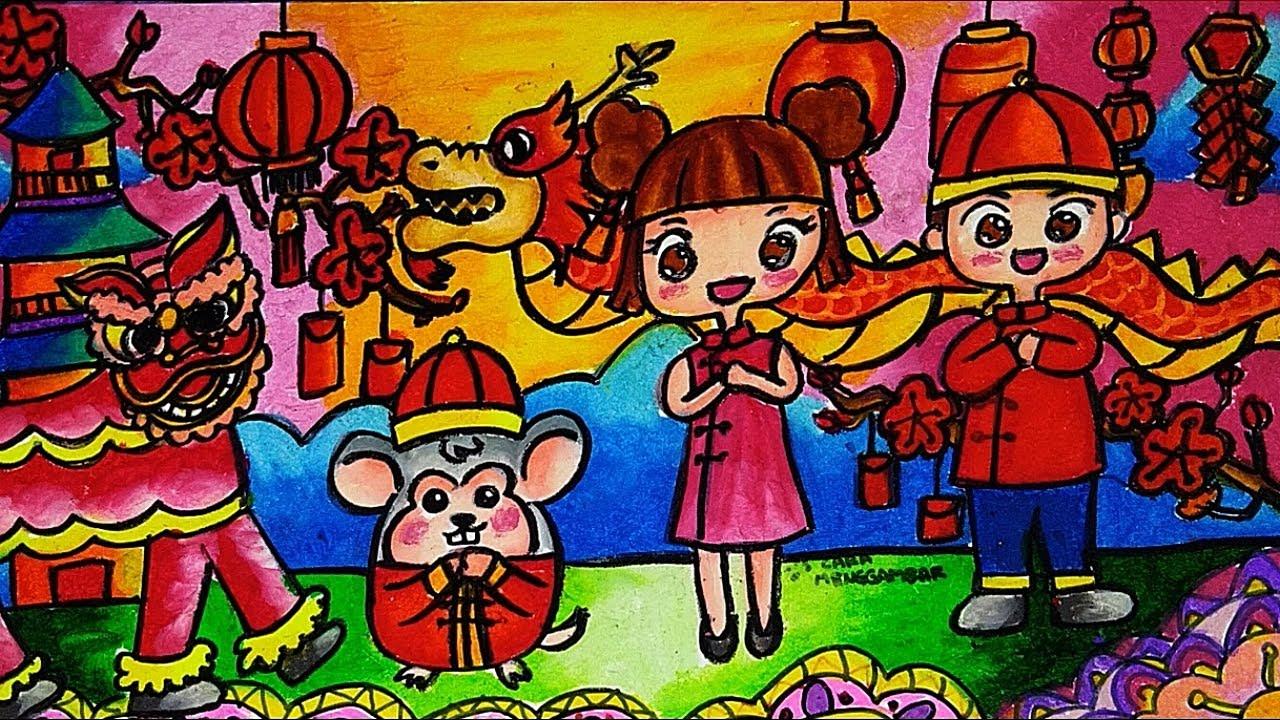 Cara Menggambar Mewarnai Tema Chinese New Year Tahun Baru Imlek 2020 Tikus Logam Yang Bagus Mudah