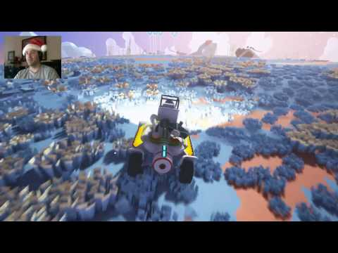 Astroneer - Exploring with my 3 Truck train and scout Rover - Satellite Solar Panel attached!