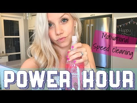 CLEAN WITH ME // POWER HOUR living room, kitchen, & bathroom