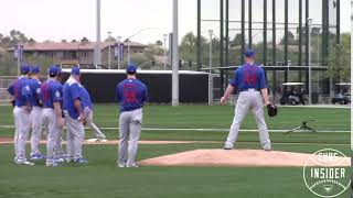 Jon Lester Practices Picking off Tommy Pham at First Base