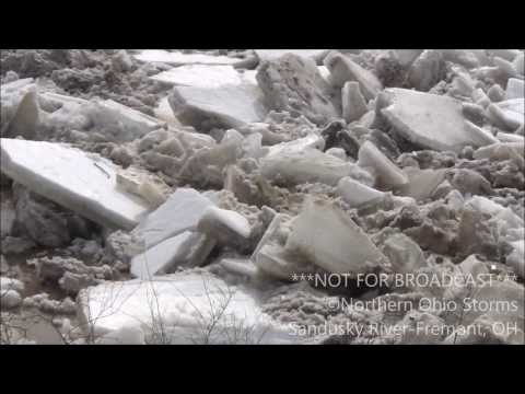 Ice jam breaks free - Fremont, OH - 02/23/14
