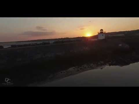 Sunset at Burry Port Carmarthenshire Wales Drone Footage
