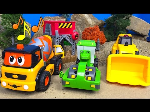 MIGHTY MACHINES SONG CONSTRUCTION TOYS SONG EXCAVATOR BULLDOZER DUMP TRUCK CONCRETE MIXER ROLLER