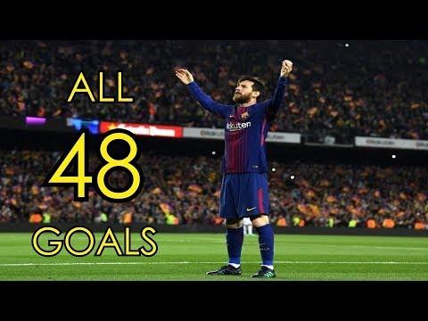 Lionel Messi ● All 48 Goals in 2017/18 ● Golden Boot Winner As Midfielder