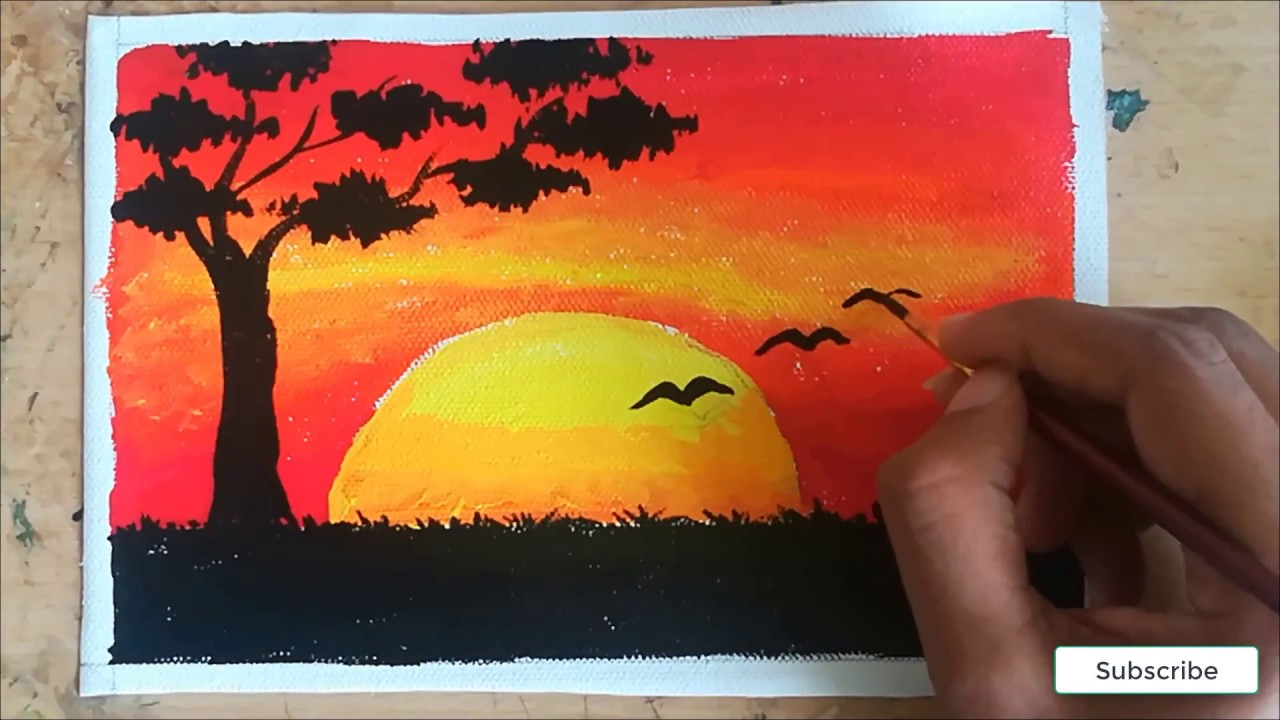 Sunset Painting With Poster Color Birds Sunset Poster Color