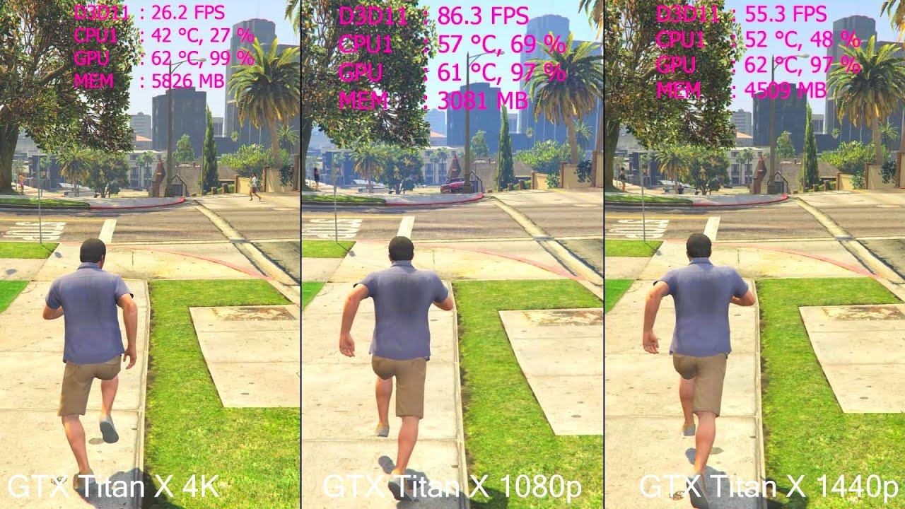 GTA 5 1080p Vs 1440p Vs 4K GTX Titan X Frame Rate - VRAM Comparison