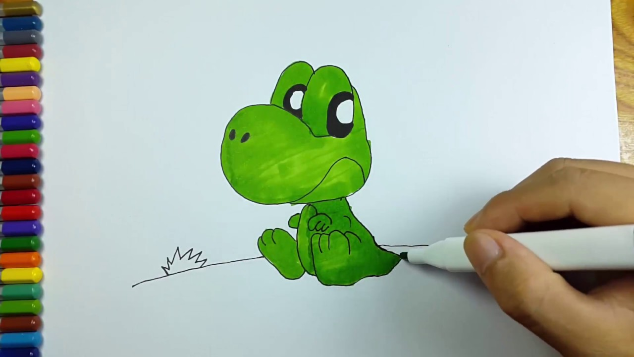 Dinosaur Coloring Page For Kids Colouring Pages For Kids Cute Baby T Rex Toddle Art Youtube