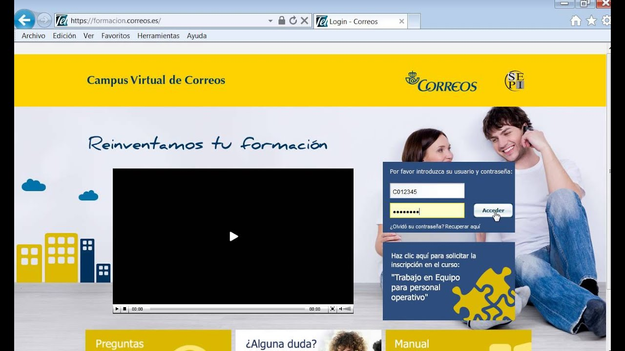 Acceso Plataforma De Formacion De Correos Youtube