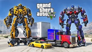 OPTIMUS PRIME VS BUMBLEBEE - GTA 5 TRANSFORMERS MOD !!!