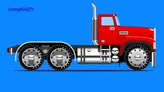 Trucks for kids. Truck Assembly. Cartoon. for children.