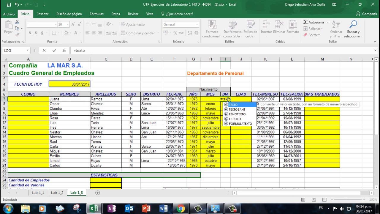 Ejercicios De Excel F Rmulas Youtube