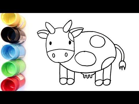 Cara Menggambar Dan Mewarnai Sapi Lucu Untuk Anak Anak Youtube