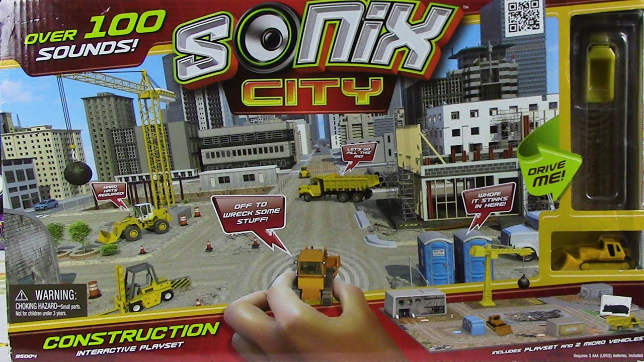 Sonix City Toy Construction Interactive Playset Interactive Sound Micro Vehicles