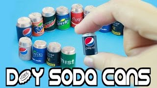 How to Make Miniature Cola - Soda Realistic - Pop Cans - Easy Crafts for Dolls - simplekidscrafts