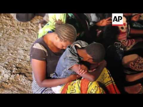 Rescued migrants reach port in Garabulli, Libya