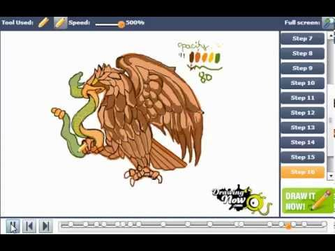 How To Draw The Eagle From The Mexican Flag Youtube
