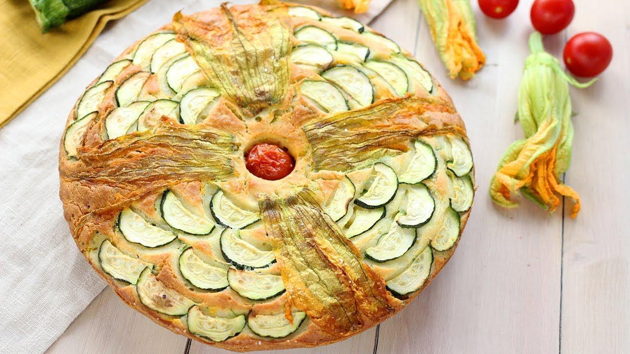 TORTA SALATA SOFFICE FIORI DI ZUCCA \u0026 ZUCCHINE Ricetta Facile , Fatto in  Casa da Benedetta