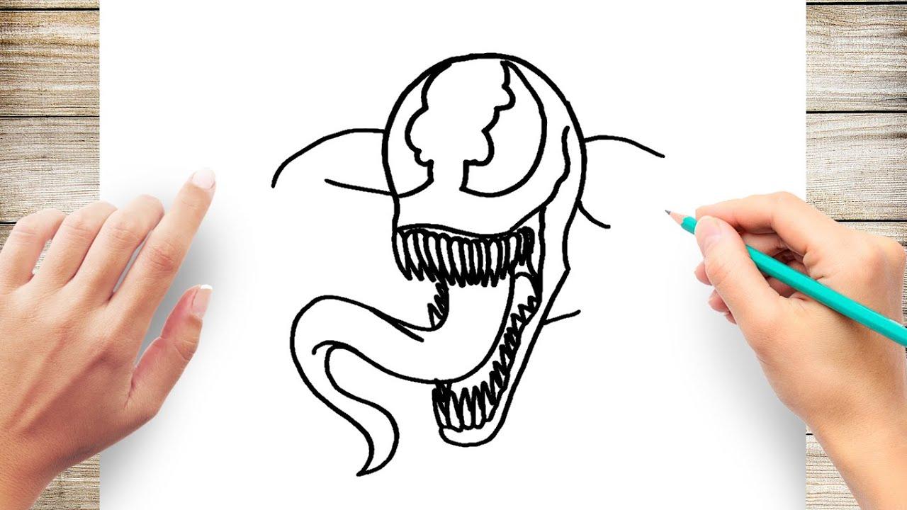 How To Draw Venom For Kids Step By Step Youtube